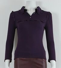 MIU MIU Purple Soft Touch Long Sleeve Ribbed Frill Neck Collar Top Size Small