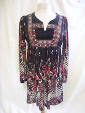 Ladies Dress - Classic T-shirts, size 12, black/red/white, printed, hippy 7728