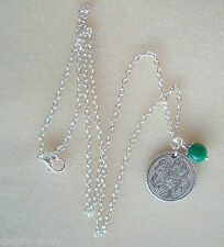 "Celtic Tree of Life Pendant Green Jade Bead 20"" Chain Necklace in Gift Bag"