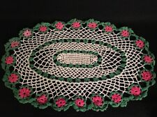 "Vintage Crochet Doily with Pink Roses and Green Accents and Cream 17.5"" long"
