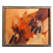 Untitled II (Abstract Browns) By Spencer Signed Oil Painting on Valbonite 11x14