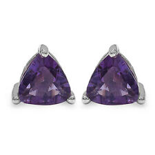 Natural Amethyst Trillion Cut .925 Sterling Silver Stud Earrings