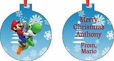Personalized Mario Christmas Ornament ( Add Any Message You Want)
