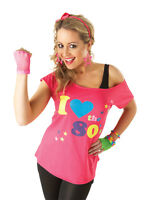Adult Pink Sexy I Love The 80s Retro T-Shirt Fancy Dress Party Costume Ladies BN