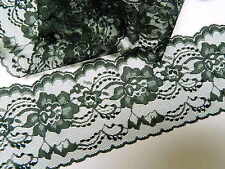"BLACK LACE TRIM 4 "" wide -10yds.- WEDDING - RUNNERS - BOWS ~ 10 yds or more"