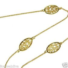 """18K YELLOW GOLD OVER STERLING SILVER CHARLES GARNIER PARIS 38"""" FILIGREE NECKLACE"""