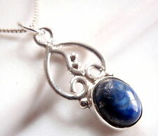 Small Lapis Lazuli Flower Pendant 925 Sterling Silver Oval New Florist Shop