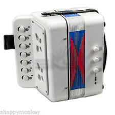��Great Gift�� Accordion White 7 Button 2 Bass Kid Music Instrument *Special*