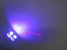 50pcs, 3mm Purple UV Flat Top Led Wide Angle Water Clear Light Leds + Resistors
