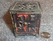 rare antique miniature cast iron Daisy safe bank doll house size no key
