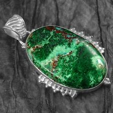 14.45 Gram 925 Sterling Pure Silver Natural Green Chrysocolla Pendant Jewelry $