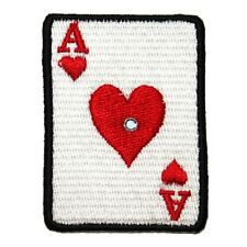 ID 0078A Ace of Hearts Playing Card Patch Poker Embroidered Iron On Applique