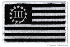 BLACK THREE PERCENT FLAG IRON-ON PATCH embroidered III 3% SECOND AMENDMENT GUN