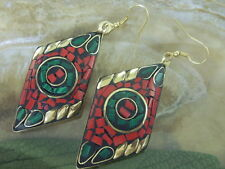 Nepal Tibet Messing  Ohrringe Earrings m.rote Koralle & Malachit Haken Messing