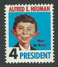 Hillary Clinton Donald Trump Alfred E. Neuman 4 For President MAD Magazine Stamp