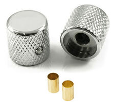 FENDER TELECASTER STYLE TELE GUITAR BARREL KNOBS CHROME (SET OF 2) USA & METRIC