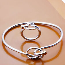 Fashion Jewelry 925Sterling Silver Color Seperation Bead Bracelet Ring Set S253