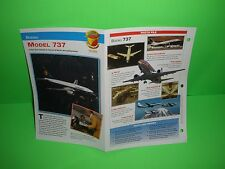 BOEING MODEL 737 AIRCRAFT FACTS CARD AIRPLANE BOOK 130