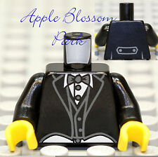 NEW Lego BLACK MINIFIG TORSO Tuxedo White Shirt Gray Bow Tie Wedding Groom Suit