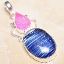 "Handmade Sparkling Dichroic Glass 925 Sterling Silver Pendant 2.25"" #P07162"