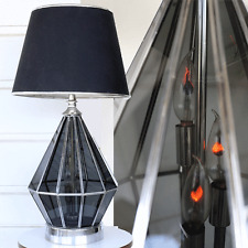 vtg HUGE Mid Century Modern triangle hexagon tinted Glass heavy table Lamp