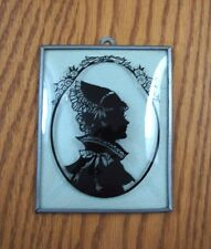 Vintage VICTORIAN Reverse Painted Convex Glass Silhouette Picture Wall Hanging