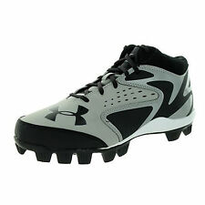 NEW Under Armour Leadoff Mid Kids Baseball Cleats Youth Boy/Girl Black/Gray 3 Y