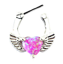 Opale Rosa Cuore Setto Clicker Piercing al naso Daith Angel Wing Love Body Piercing