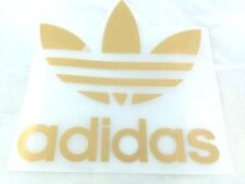 GOLD ADIDAS IRON ON PATCH SPORTS LOGO DIY CLOTHING 20 X 20 CM. POLY FLEX PU