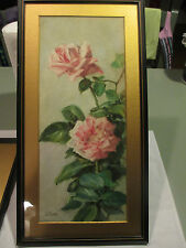 Signed LC Hunter Watercolor Flower Paintings Art Nouveau Rose Listed Artist lot2