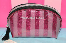 Victoria's Secret Makeup Bag Cosmetic Case Glitter Stripes Pink Travel Size NWT