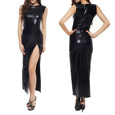 Sexy Long Dress Seductive Patent Leather Clubwear Black Without Gloves+briefs