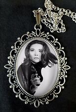 Emma Peel The Avengers Large Antique Silver Pendant Necklace 1960s TV Diana Rigg