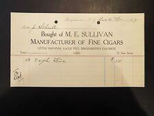 M.E. Sullivan Manufacturers of Fine Cigars Letterhead Invoice 1907