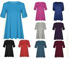 Ladies Womens Turn Up BUTTON SHORT SLEEVE Flare SWING Long TOP Plus Size Lot a17