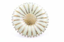 Lovely adjustable white enamel daisy flower ring retro