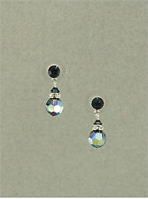 Silver 8mm Montana Blue AB Swarovski Crystal Elements Post Earrings