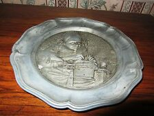 ASIAN ORIENTAL WOMAN PEWTER PLATE ANGEL STAMP ON BACK