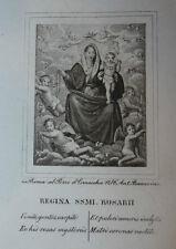 Regina Vergine Rosario 1 ottobre 1840 Incisione Santino Acquaforte Stampa Banzo