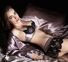 MYLA SILK AND LACE BRA AND BRIEFS SET SMALL 34D