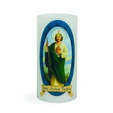 "SAINT JUDE  6"" LED Flamless CANDLE Lights Up B/O NEW Beautiful San Judas"