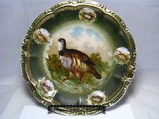 """A PORCELAIN PLATTER PLATE PLAQUE """"Quail"""" """"Birds"""" Old Paris France 19th Century"""