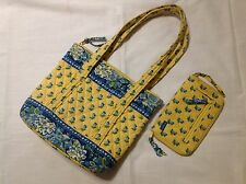 Vera Bradley Retired Katherine Purse Handbag And Wallet Yellow Blue Floral