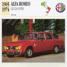1965-1974 ALFA ROMEO GIULIA SUPER Classic Car Photograph / Information Maxi Card