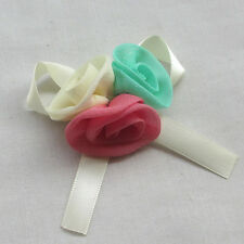 20pcs Cute Large Organza Satin Ribbon Rose Bows Flowers Appliques Craft