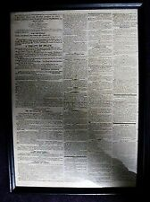 1815 BOSTON NEWSPAPER WAR 1812 TREATY FRAMED