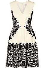 Lela Rose Guipure Lace Applique Wool Crepe De Chine Dress Ivory Black 8 $1695