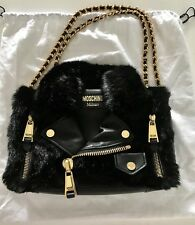 AUTHENTIC MOSCHINO JEREMY SCOTT BLACK FAUX FUR & LEATHER LARGE BIKER BAG PURSE