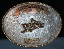 Rodeo Trophy Buckle 1977 California State Jr. Champion Bull Rider Sterling 105g