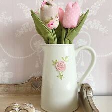 SHABBY CHIC FARMHOUSE LARGE WHITE CERAMIC FLOWER MILK JUG PITCHER PINK ROSE VASE